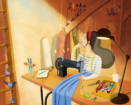 Claudia Ranucci Illustration - claudia ranucci, claudia, ranucci, picture book, commercial, young, mass market, trade, digital, photoshop, illustrator, room, birds, animals, woman, girl, figure, person, sewing, clothes, daydream, wondering, flowers, crafts, lamp. thread, sewing machine