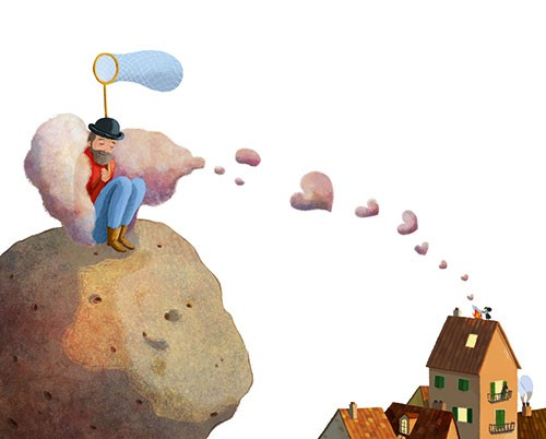 Claudia Ranucci Illustration - claudia ranucci, claudia, ranucci, picture book, commercial, young, mass market, trade, digital, photoshop, illustrator, houses, clouds, hearts, love, man, net, rock, floating, chimney, smoke,