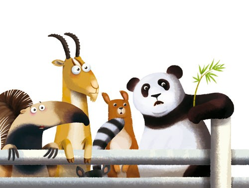 Claudia Ranucci Illustration - claudia ranucci, claudia, ranucci, picture book, commercial, novelty, fiction, young, mass market, trade, digital, photoshop, illustrator, animals, zoos, wild, jungles, pandas, bamboos, bamboo shoots, ant eater, racoons, deers, horns, friends, looking, wa