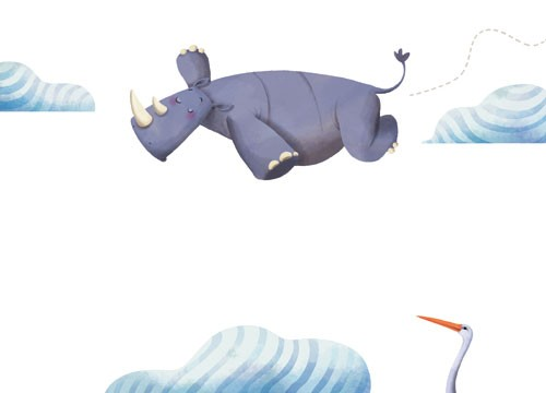 Claudia Ranucci Illustration - claudia ranucci, claudia, ranucci, picture book, commercial, novelty, fiction, young, mass market, trade, digital, photoshop, illustrator, animals, rhino, rhinoceros, flying, clouds, pelicans, birds, sky