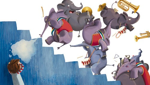 Claudia Ranucci Illustration - claudia ranucci, claudia, ranucci, picture book, commercial, young, mass market, trade, digital, photoshop, illustrator, elephant, music, trumpets, animal, humour, funny, mischievous, cheeky, child, person, figure, boy, elephants, stairs, dress up, costum