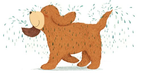 Claire Shorrock Illustration - claire,shorrock, claire shorrock, illustrator, illustration, photoshop, digital, paint, painterly, pencil, pencil crayon, fiction, YA, young reader, picture book, colourful, colour, animal, dog, wet, water, droplets, fur, furry