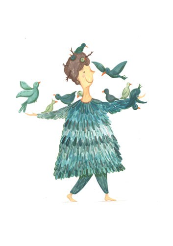 Claire Shorrock Illustration - claire,shorrock, claire shorrock, illustrator, illustration, photoshop, digital, paint, painterly, pencil, pencil crayon, fiction, YA, young reader, picture book, colourful, colour, woman, lady, person, figurative, figure, animal, bird, birdies, dress, fe