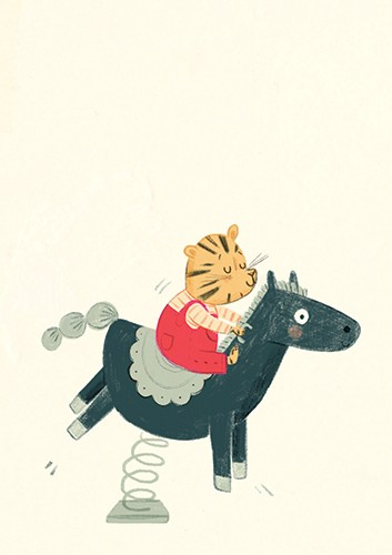 Claire Shorrock Illustration - claire, shorrock, claire shorrock, picture book, greetings cards, licensing, trade, painted, traditional, birthday, tiger, animal, childrens, childrens' books, sweet, playing, horse, ride, playground, fun, happy