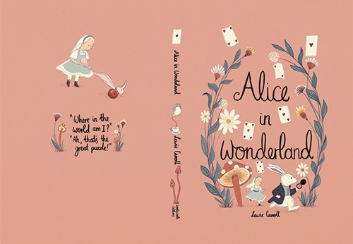 Claire Shorrock Illustration - claire, shorrock, claire shorrock, picture book, licensing, trade, painted, traditional, classics, story, tale, book, cover, book cover, alice in wonderland, alice, girl, playing cards, rabbit, white rabbit, watch, mushrooms, plants, flowers
