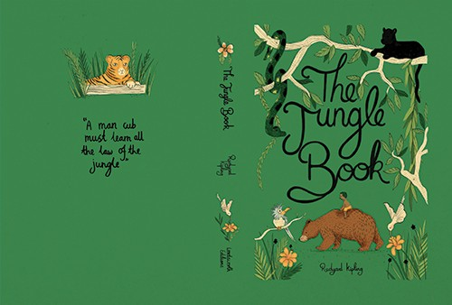 Claire Shorrock Illustration - claire, shorrock, claire shorrock, picture book, licensing, trade, painted, traditional, classics, story, tale, book, cover, book cover, the jungle book, jungle, animals, wild, tiger, snake, panther, bear, boy, child, birds, cub, leaves, vines, flowers, p