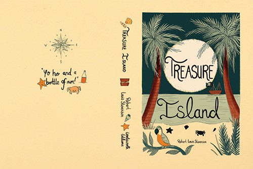 Claire Shorrock Illustration - claire, shorrock, claire shorrock, picture book, licensing, trade, painted, traditional, classics, story, tale, book, cover, book cover, treasure island, compass, crabs, animals, starfish, shells, sand, sea, beach, ocean, water, boat, ship, pirates, trees