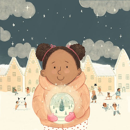 Claire Shorrock Illustration - claire, shorrock, claire shorrock, picture book, greetings cards, licensing, trade, painted, traditional, festive, seasonal, christmas, girl, character, pierson, snow globe, snow, houses, town, magic, wish, sledding, families, playing, angels,