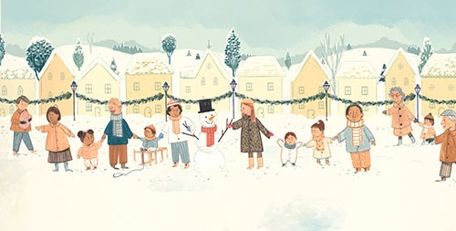 Claire Shorrock Illustration - claire, shorrock, claire shorrock, picture book, greetings cards, licensing, trade, painted, traditional, festive, seasonal, christmas, families, people, children, parents, snowman, holding, hands, town, snow, snowing, cute, fun, love, line,row, community