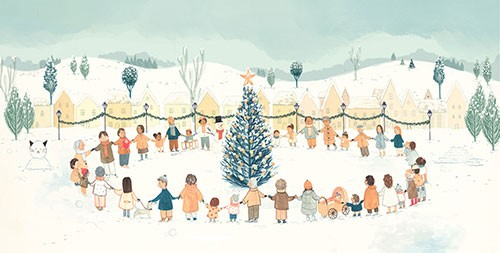 Claire Shorrock Illustration - claire, shorrock, claire shorrock, picture book, greetings cards, licensing, trade, painted, traditional, festive, seasonal, christmas, town, houses, buildings, tree, christmas tree, community, families, love, people, circle, holding hands, happy, winter