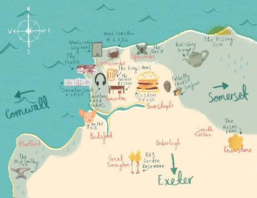 Claire Shorrock Illustration - claire,shorrock, claire shorrock, illustrator, illustration, photoshop, digital, paint, painterly, pencil, pencil crayon, fiction, YA, young reader, picture book, colourful, colour, map, country, sea, water, waves, text, type, towns, cities, food, doodles