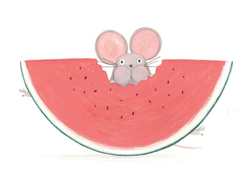 Claire Shorrock Illustration - cute, sweet, claire,shorrock, claire shorrock, illustrator, illustration, photoshop, digital, paint, painterly, pencil, pencil crayon, fiction, YA, young reader, picture book, colourful, colour, mouse, animal, funny, watermelon, food, fruit