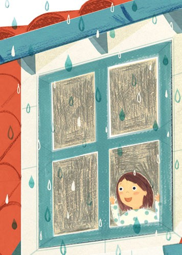 Claire Shorrock Illustration - cute, sweet, claire,shorrock, claire shorrock, illustrator, illustration, photoshop, digital, paint, painterly, pencil, pencil crayon, fiction, YA, young reader, picture book, colourful, colour, girl, child, cute, sweet, pattern, rain, weather, window, pe