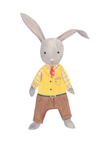 Claire Shorrock Illustration - cute, sweet, claire,shorrock, claire shorrock, illustrator, illustration, photoshop, digital, paint, painterly, pencil, pencil crayon, fiction, YA, young reader, picture book, colourful, colour, rabbit, suit, cute, sweet,