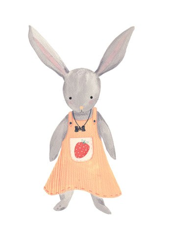 Claire Shorrock Illustration - cute, sweet, claire,shorrock, claire shorrock, illustrator, illustration, photoshop, digital, paint, painterly, pencil, pencil crayon, fiction, YA, young reader, picture book, colourful, colour, rabbit, animals, dress, cute, sweet, strawberry
