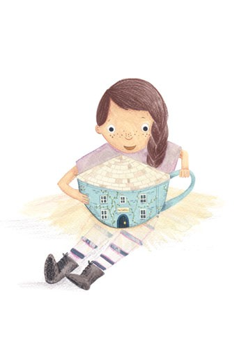 Claire Shorrock Illustration - cute, sweet, claire,shorrock, claire shorrock, illustrator, illustration, photoshop, digital, paint, painterly, pencil, pencil crayon, fiction, YA, young reader, picture book, colourful, colour, child, person, girl, figure, figurative, cute, sweet, house
