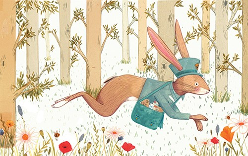 Claire Shorrock Illustration - cute, sweet, claire,shorrock, claire shorrock, illustrator, illustration, photoshop, digital, paint, painterly, pencil, pencil crayon, fiction, YA, young reader, picture book, colourful, hare, flowers, woods, forest, trees, plants, nature, rabbit, post, l
