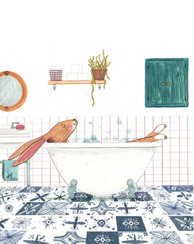 Claire Shorrock Illustration - cute, sweet, claire,shorrock, claire shorrock, illustrator, illustration, photoshop, digital, paint, painterly, pencil, pencil crayon, fiction, YA, young reader, picture book, colourful, ,hare, rabbit, bath, bubbles, tiles, bathroom, relax, chill, mirror,