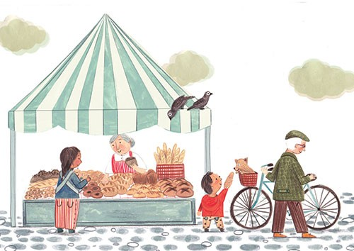Claire Shorrock Illustration - claire, shorrock, claire shorrock, cute, sweet, illustrator, illustration, photoshop, digital, paint, painterly, pencil, traditional, pencil crayon, fiction, young reader, picture book, people, market, stall, woman, man, food, bread, bicycle, bike, child,