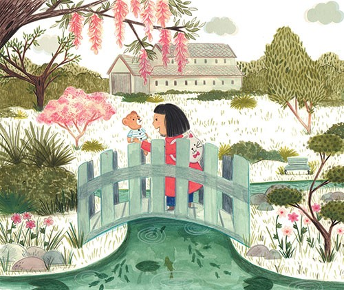 Claire Shorrock Illustration - claire, shorrock, claire shorrock, cute, sweet, illustrator, illustration, photoshop, digital, little girl, paint, painterly, pencil, traditional, pencil crayon, fiction, young reader, picture book, garden, flowers, nature, girl, bridge, teddy, toy, flora