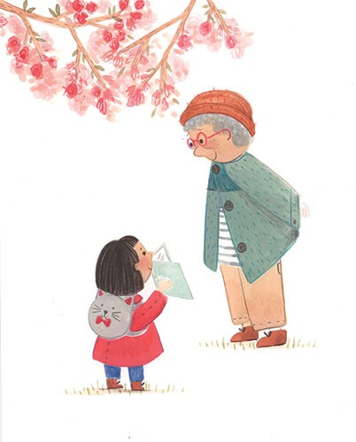 Claire Shorrock Illustration - claire, shorrock, claire shorrock, cute, sweet, illustrator, illustration, photoshop, digital, paint, painterly, pencil, traditional, pencil crayon, fiction, young reader, picture book, girl, granny, nan family, teddy, blossom, cat, rucksack,