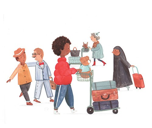 Claire Shorrock Illustration - claire, shorrock, claire shorrock, cute, sweet, illustrator, illustration, photoshop, digital, paint, painterly, pencil, traditional, pencil crayon, fiction, young reader, picture book, people, airport, travel, suitcase, holiday, suit, men, women, man, wo