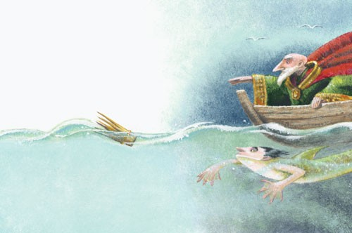 Claudia Venturini Illustration - claudia, venturini, claudia venturini, paint, painted, acrylic, digital, photoshop, Educational, Fiction, picture book, king, mermaid, sea, boat, ocean, water, swimming, fantasy