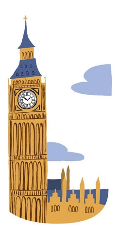 Cinta Villalobos Illustration - cinta, villabolos, cinta villabolos, comercial, educational, fiction, greetings cards, stationary, picture book, digital, illustrator, buildings, London, untied kingdom, iconic, tourists, big ben, clocks