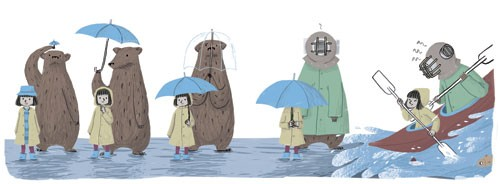 Cinta Villalobos Illustration - cinta, villabolos, cinta villabolos, comercial, educational, fiction, greetings cards, sweet, young, picture book, digital, illustrator, photoshop, people, child, children, kids, girls, animals, bears, yellow coats, umbrellas, raining, water, boats, rowin