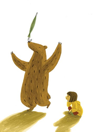 Cinta Villalobos Illustration - cinta, villabolos, cinta villabolos, comercial, educational, fiction, greetings cards, stationary, sweet, young, picture book, digital, illustrator, photoshop, people, child, children, kids, girls, animals, bears, yellow coats, umbrellas, playing, balanci