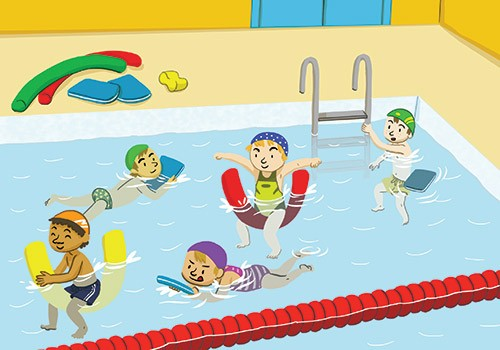 Cinta Villalobos Illustration - cinta, villabolos, cinta villabolos, comercial, educational, fiction, greetings cards, stationary, picture book, digital, illustrator,people, children, swimming, floats, goggles, fun, play, learn, hats, floats, floating