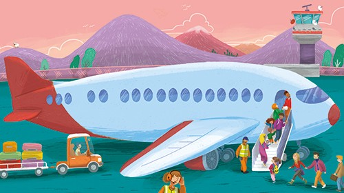Cinta Villalobos Illustration - cinta, villabolos, cinta villabolos, commercial, fiction, sweet, young, picture book, digital, illustrator, photoshop, airport, busy, people, transport, travel, mountains, car, luggage, suitcases, men, women, holiday, jet, airplane, aeroplane, plane, wing