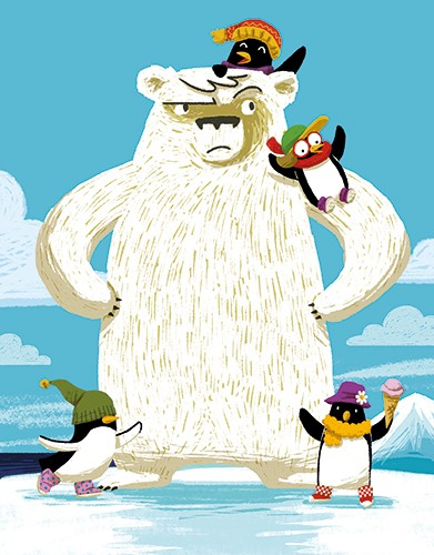 Cinta Villalobos Illustration -  cinta, villabolos, cinta villabolos, commercial, fiction, sweet, young, picture book, digital, illustrator, photoshop, animals, wild, arctic, polar bear, penguins, grumpy, happy, playing, ice, cold, hats, gloves, scarves, ice cream, skating
