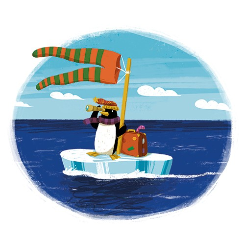 Cinta Villalobos Illustration -  cinta, villabolos, cinta villabolos, commercial, fiction, sweet, young, picture book, digital, illustrator, photoshop, ice, cold, arctic, animals, penguin, iceberg, flag, trousers, suitcase, travel, telescope, hat, scarf, water, ocean, waves, sea, clouds