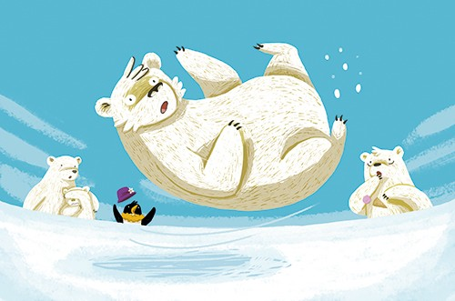 Cinta Villalobos Illustration -  cinta, villabolos, cinta villabolos, commercial, fiction, sweet, young, picture book, digital, illustrator, photoshop, animals, wild, polar bears, penguin, shock, ice, slip, fall, cold, icy, slippery, falling over, accident, hat,