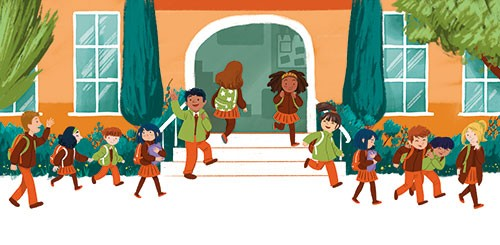Cinta Villalobos Illustration - cinta, villabolos, cinta villabolos, commercial, fiction, sweet, young, picture book, digital, illustrator, photoshop, kids, children, boys, girls, school, gates, building, class, friends, fun, laughing, waving, walking, education, students