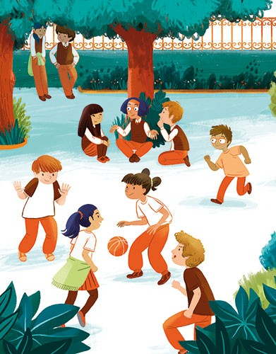 Cinta Villalobos Illustration - cinta, villabolos, cinta villabolos, commercial, fiction, sweet, young, picture book, digital, illustrator, photoshop, kids, children, boys, girls, school, field, playground, games, class, friends, fun, laughing, game, basketball, chatting, education, stu