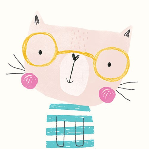 Damien & Lisa Barlow Illustration - Damien, Lisa, Damien & Lisa, Barlow, digital, photoshop, board book, trade, mass market, greetings cards, gift wrap, stripes, stationary, fiction, picture book,, kitten, cat, glasses, hearts, sweet, cute,