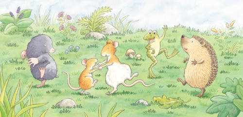 Debbie Tarbett Illustration - debbie tarbett, watercolour, watercolor, pencil, paint, painted, young, sweet, commercial, novelty, board, picture book, picturebook, animals, mice, mouse, moles, mole, frogs, hedgehogs