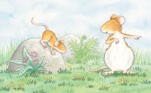 Debbie Tarbett Illustration - debbie tarbett, watercolour, watercolor, pencil, paint, painted, young, sweet, commercial, novelty, board, picture book, picturebook, animals, mice, mouse