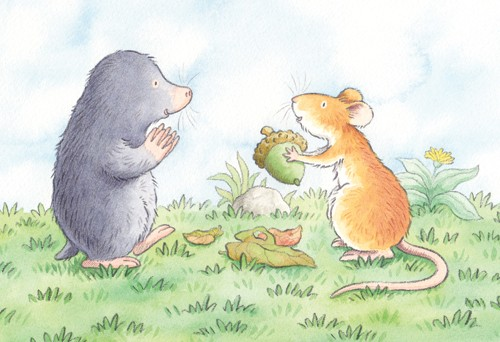 Debbie Tarbett Illustration - debbie tarbett, watercolour, watercolor, pencil, paint, painted, young, sweet, commercial, novelty, board, picture book, picturebook, animals, mice, mouse, moles, mole