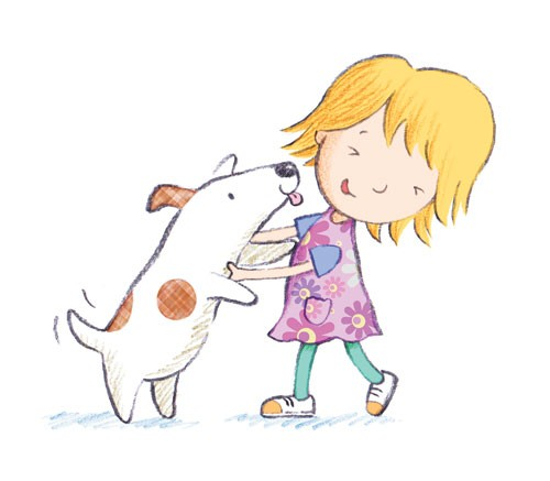 Debbie Tarbett Illustration - debbie, tarbett, debbie, tarbett, digital, colour, photoshop, illustrator, mass market, educational, novelty, young, commercial, picture book, board book, sweet, animals, dogs, puppy, pets, puppies, child, kids, children, girls, females, playing, licking,