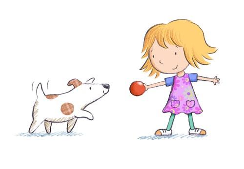 Debbie Tarbett Illustration - debbie, tarbett, debbie, tarbett, digital, colour, photoshop, illustrator, mass market, educational, novelty, young, commercial, picture book, board book, sweet, animals, dogs, puppy, pets, puppies, child, kids, children, girls, females, playing, jumping,