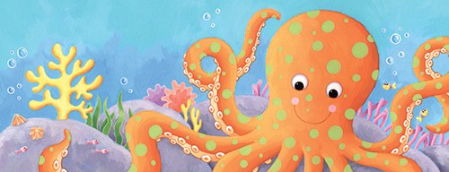 Debbie Tarbett Illustration - debbie, tarbett, debbie, tarbett, digital, colour, photoshop, illustrator, mass market, educational, novelty, young, commercial, picture book, board book, sweet, octopus, fish, water, under water, sea, shells