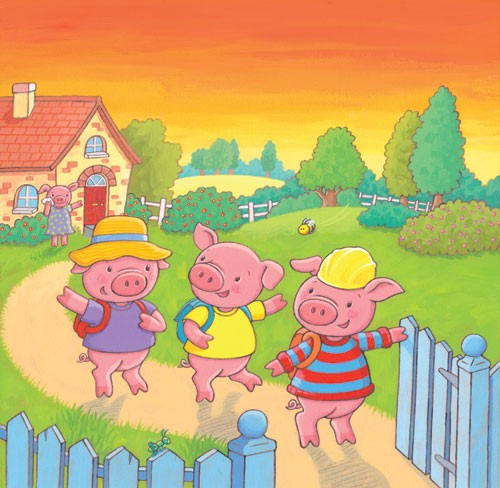 Debbie Tarbett Illustration - debbie, tarbett, debbie, tarbett, digital, colour, photoshop, illustrator, mass market, educational, novelty, young, commercial, picture book, board book, sweet, pigs, animals, house, sunset, bee, insect, fence, fields