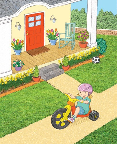 Debbie Tarbett Illustration - debbie, tarbett, debbie, tarbett, digital, colour, photoshop, illustrator, mass market, educational, novelty, young, commercial, picture book, board book, sweet, child, girl, figure, bike, house, playing, football
