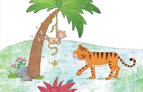 Debbie Tarbett Illustration - debbie, tarbett, debbie, tarbett, digital, colour, photoshop, illustrator, mass market, educational, novelty, young, commercial, picture book, board book, sweet, animals, tigers, monkey, butterfly, caterpillar, insects, tree, flowers