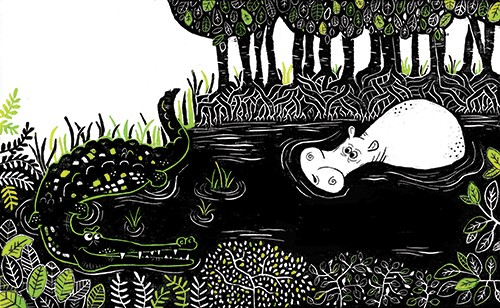 Erin Balzer Illustration - erin, balzer, erin balzer, black and white, b&w, printing, licensing, picture book, stationary, greetings cards, the enormous crocodile, road dahl, crocodile, hippo, hippopotamus, river, swamp, trees, plants
