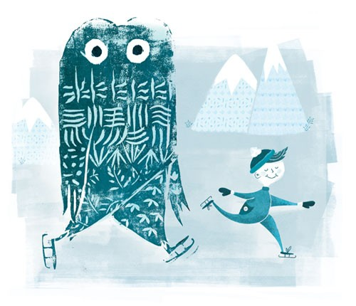 Erin Balzer Illustration - erin, balzer, erin balzer, wood printing, printing, licensing, picture book, colour, character, owl, ice skating, boy, bear, hat, scarf, ice, mountains, friends, winter, cold