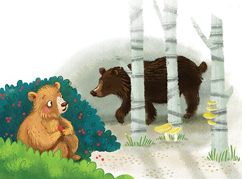 Esther van den Berg Illustration - esther van den berg, esther, van den berg, painted, digital, commercial, advertising, advertisements, posters, editorial, magazines, mass market, trade, photoshop, illustrator, bear, happy, parent, trees, forest, woods